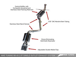 AWE Tuning Audi A5 B8 2.0T Touring Edition Exhaust System - Twin System