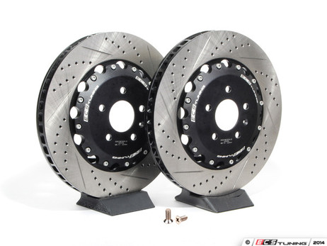 Ecs Tuning Front Cross Drilled Amp Slotted 2 Piece Brake Discs 1 Awesome Gti Volkswagen Audi