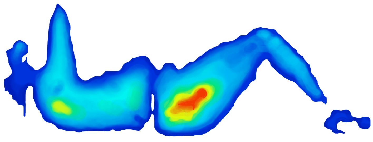 Pressure map of conventional memory foam mattress