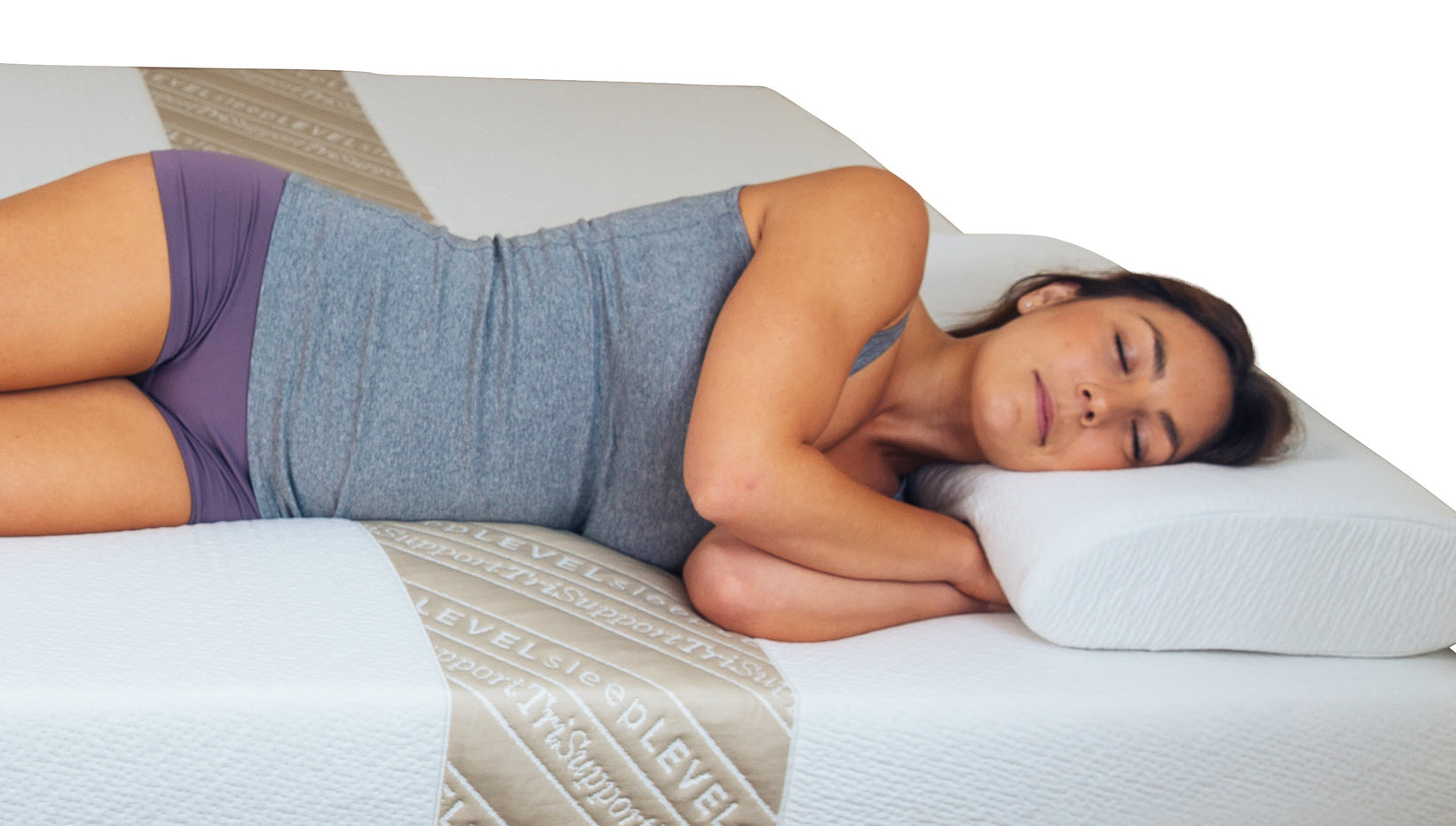 The TriSupport and TriSupport Luxe mattresses and topper feature a soft shoulder zone that absorbs your shoulder's weight while the complementary lumbar and hip zones keep your body aligned.