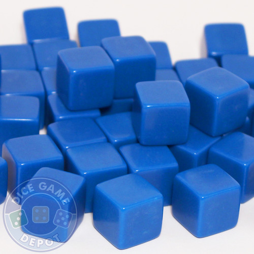 Blank blue dice - 16mm - Set of 1000