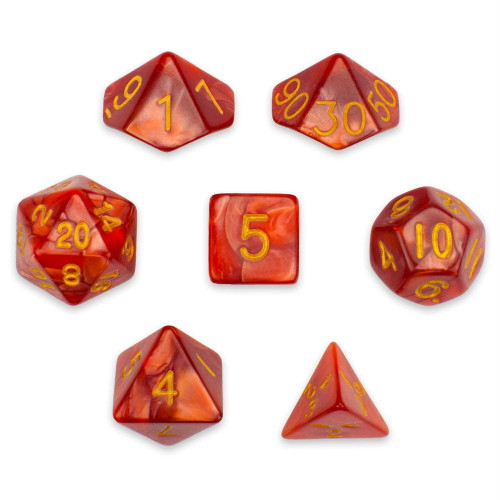 Pearlized 7-piece Dice Set in Velvet Pouch - Dragon Scales