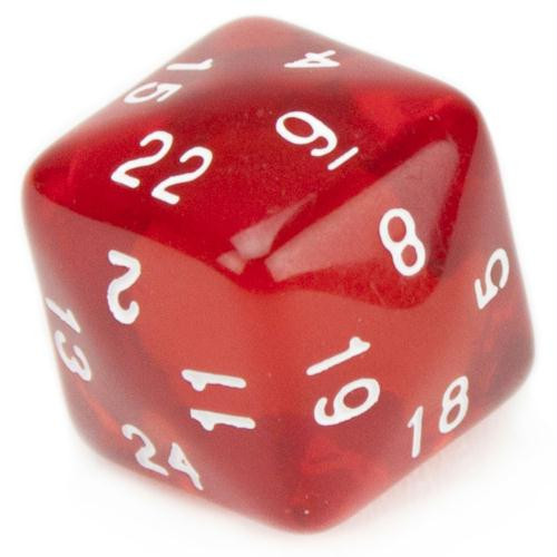 24-Sided Translucent Red Polyhedral Dice