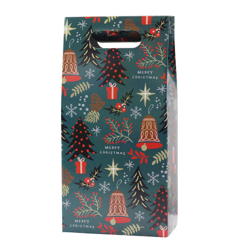 2 Bottle Wine Gift Box Christmas Design with Bells and Trees