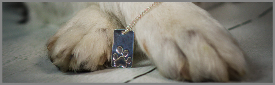 A dog holding a Sterling SAilver pawprint necklace