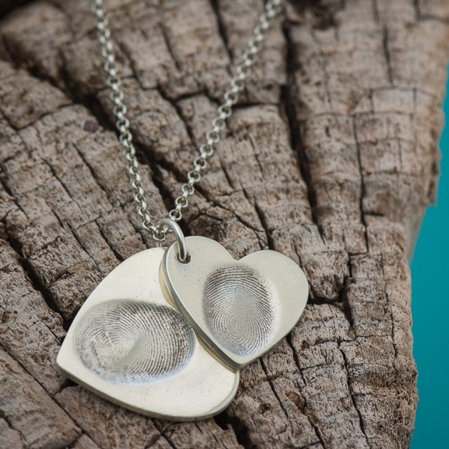 Sterling Silver Fingerprint Necklace by Sand Dollar Silver