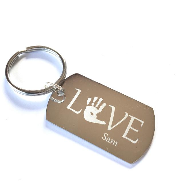 Stainless steel handprint keychain by Sand Dollar Silver