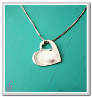 A single Sterling Silver Heart-in-Heart necklace