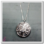 Sterling Silver Tree of Life Necklace in the closed position