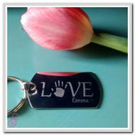 Single Love Hand or Footprint Keychain