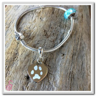 Engraved Pet Pawprint Heart Charm