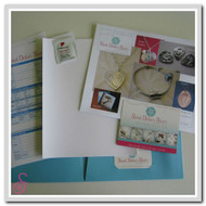 The contents of our child-safe and parent-friendly hand and foot print kit. All you need to take a print of your child's hand or foot in preparation for your unique hand or footprint jewellery.
