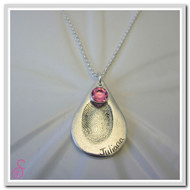 A teardrop-shaped Sterling Silver single fingerprint necklace with added optional birthstone