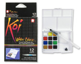 KOI WATER COLORS FIELD SKETCH BX W/ BRUSH - 12 PC SET - 12 COLORS