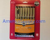 8 PK PIGMA MICRON PN - ASST: 1 EA BLACK, RED, BLUE/BLACK, BLUE, SEPIA, ROSE, BURGUNDY, PURPLE