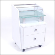 JA White Pedi Cart - Glass Top