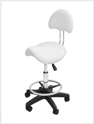 "Saddle Stool White or Black Adjustable Height: 24.5"" - 33.5"""