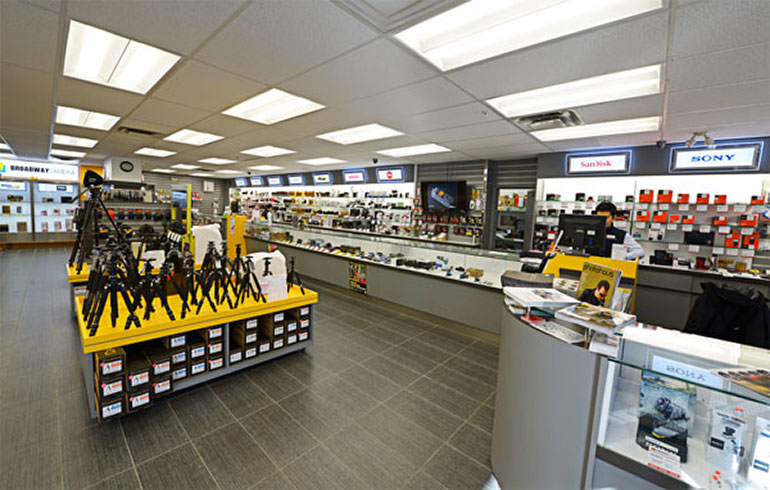 A wide variety of camera parts and products on display in-store