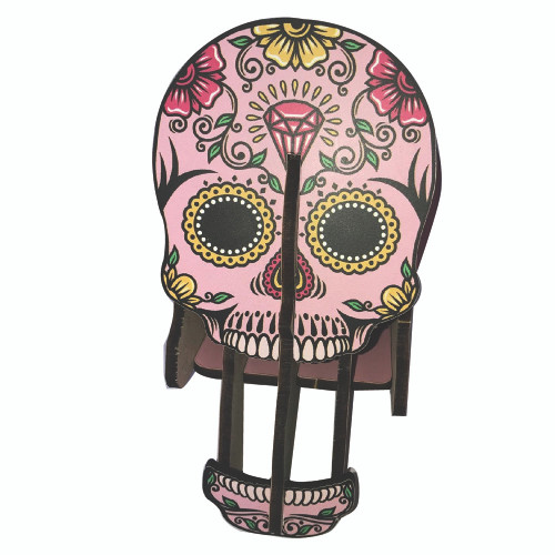 Skull Pen Holder  and Puzzle Decor  - Pink