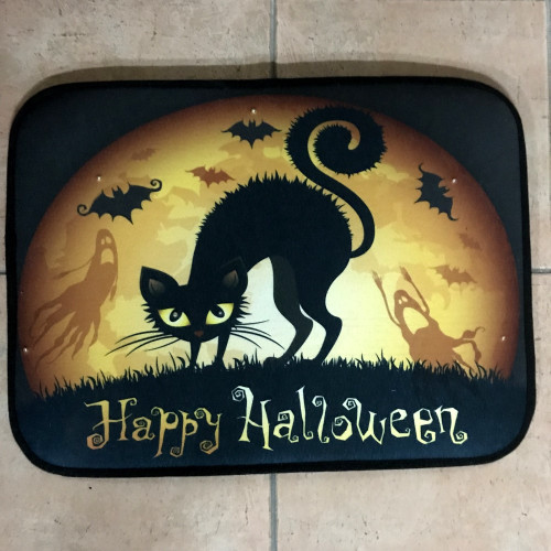 The Black Cat Halloween Screaming Door Mat - Led lights - Witches ...