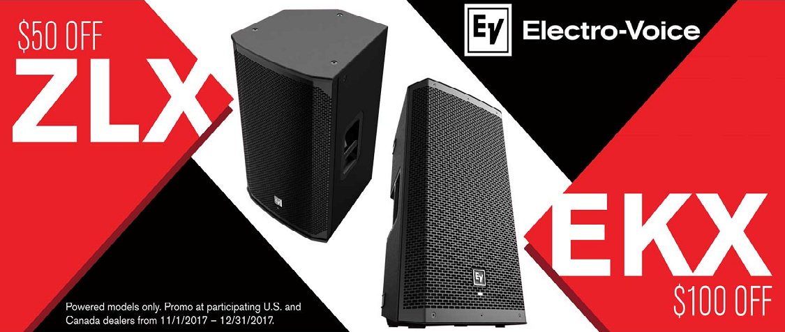 $50 off Powered EV ZLX and $100 off EKX Speakers