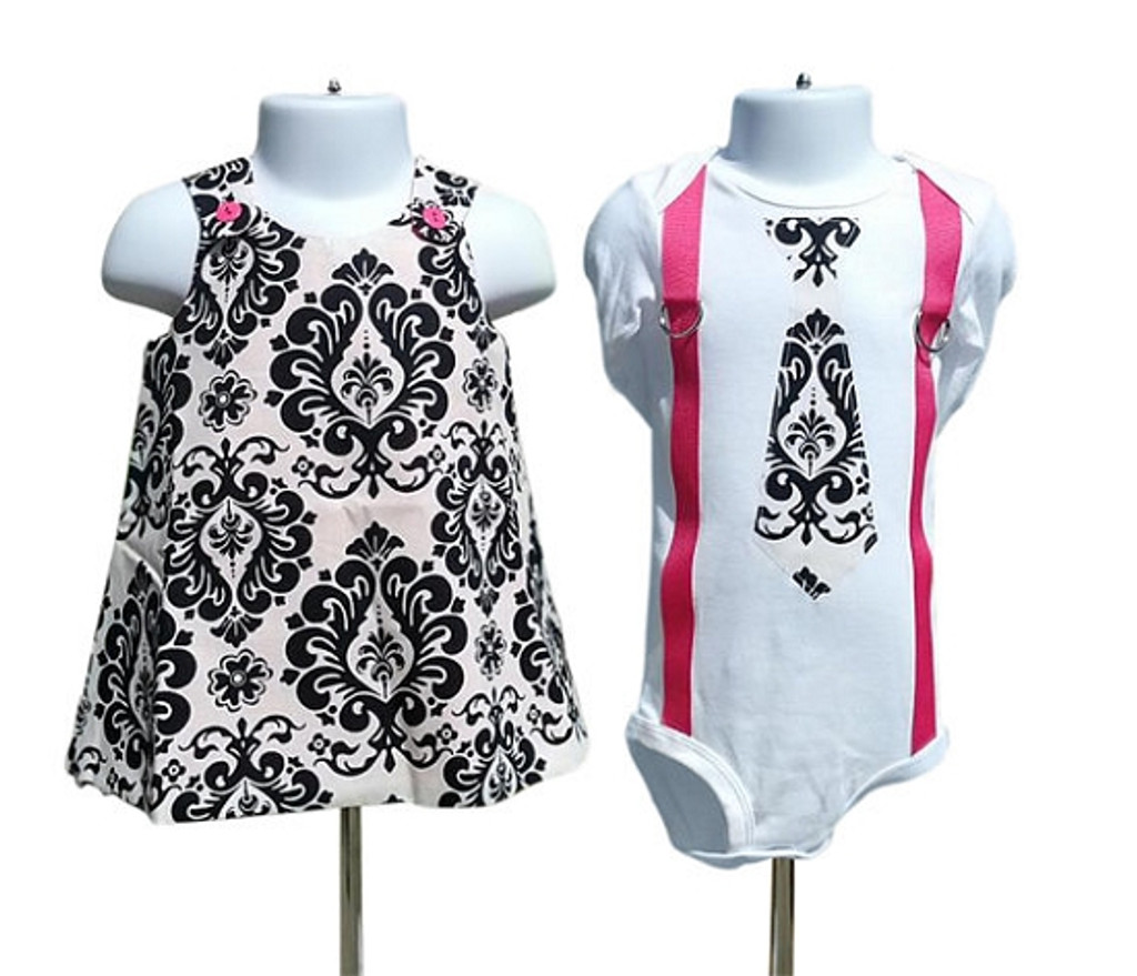 Matching Dress and Shirt for Twins: Damask & Pink Collection