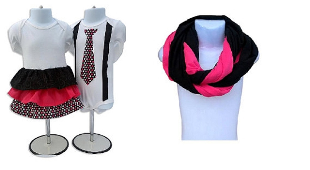 Matching Dress, Shirt and Scarf Set for Twins & Mom: Mommy and Me Collection