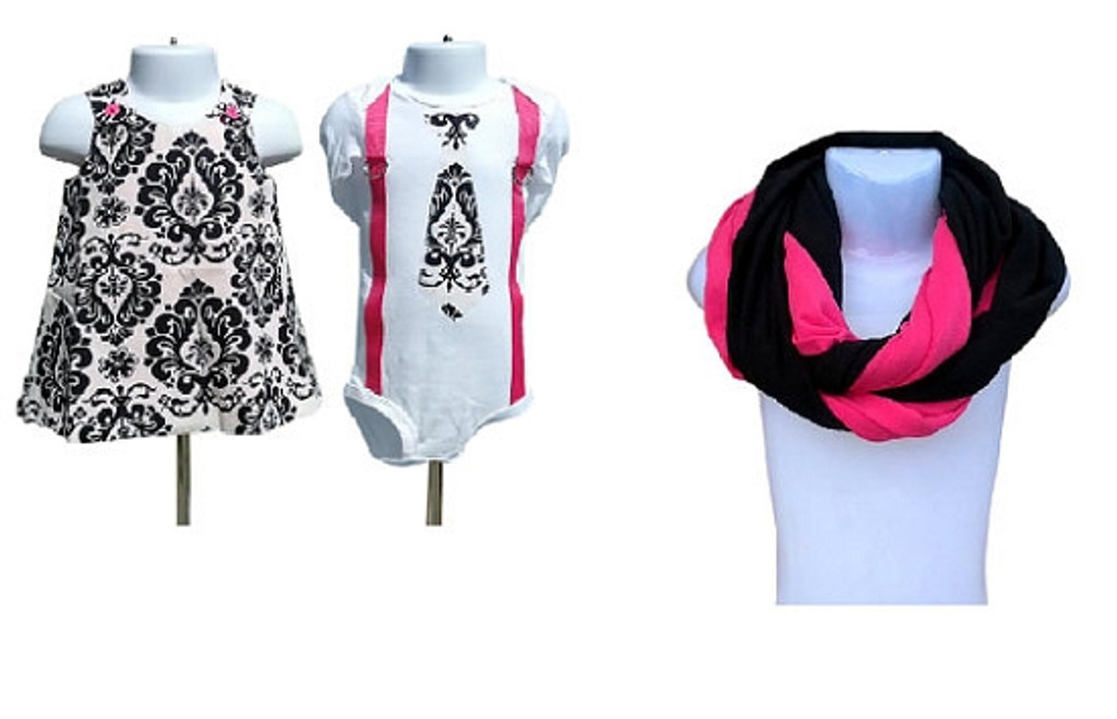 Matching Dress, Shirt and Scarf Set for Twins & Mom: Mommy & Me Collection