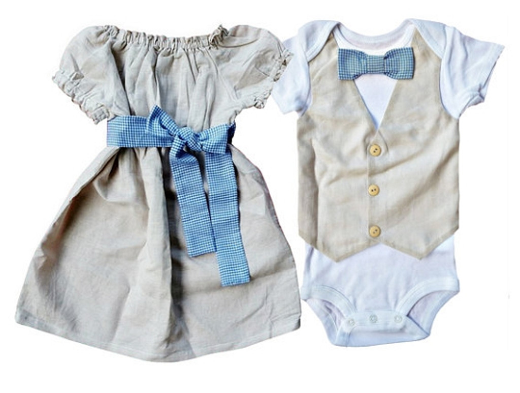 Linen and Gingham Dress and Bow Tie Vest Shirt Set for Twins