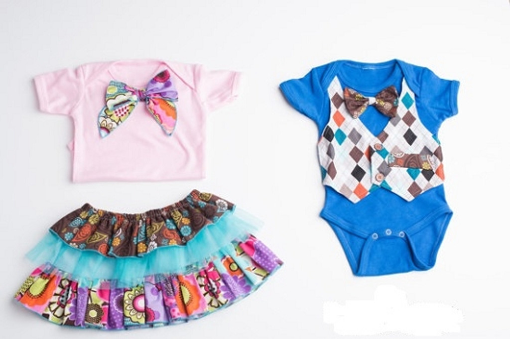 Coordinating Bow Dress and Vest Shirt Set for Twins- Pink and Blue