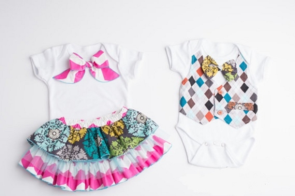 Coordinating Bow Dress and Vest Shirt Set for Twins- Checkered