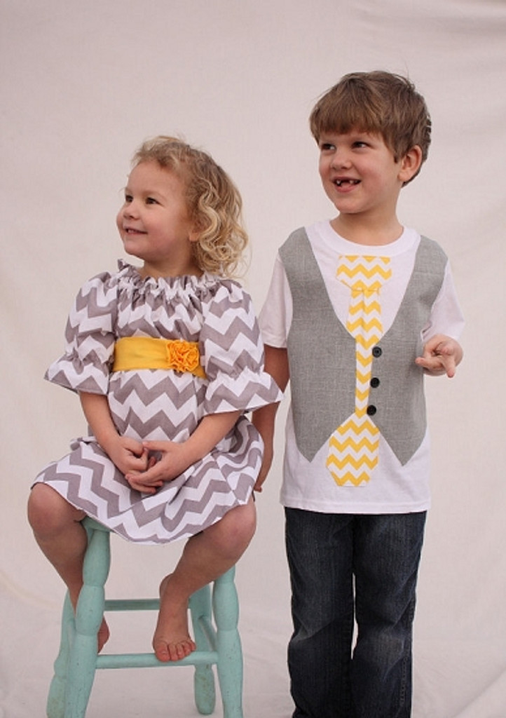 Matching Dress and Shirt for Twins: Chevron Gray and Yellow