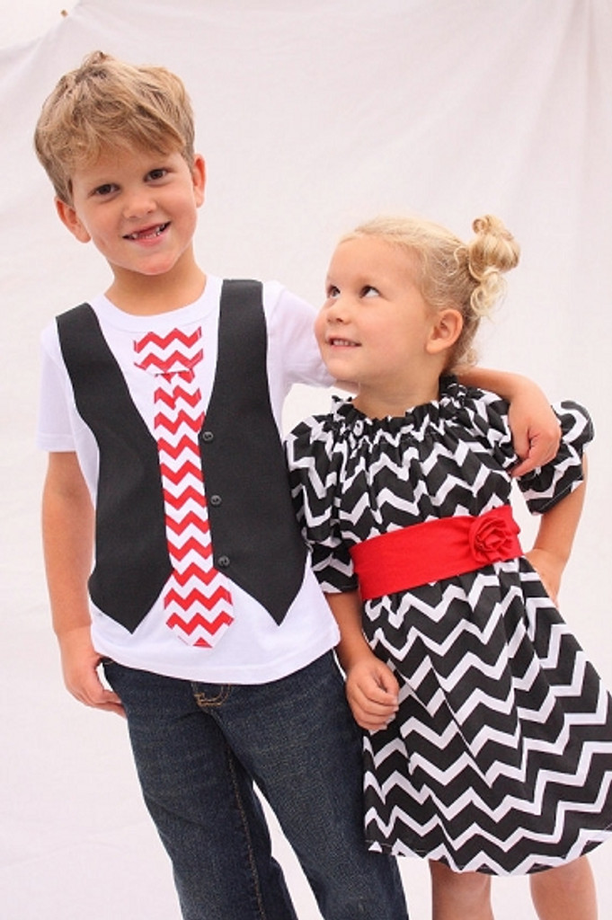 Matching Dress and Shirt for Twins: Chevron Black and Scarlet