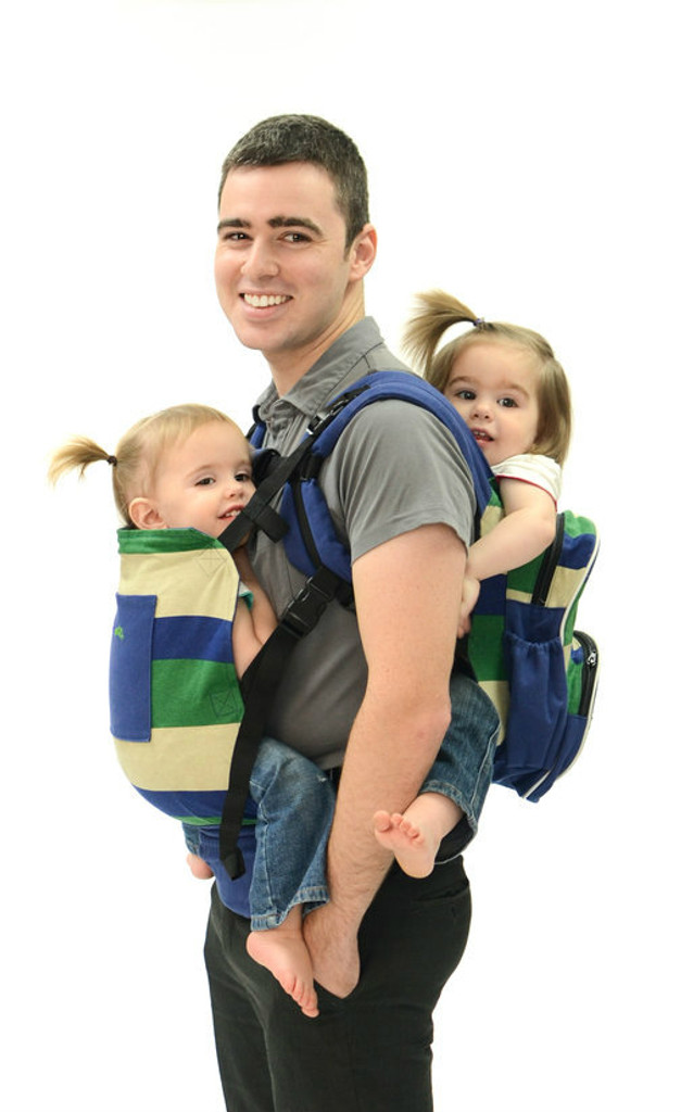 Twingaroo Twin Baby Carrier and Diaper Bag- Preppy