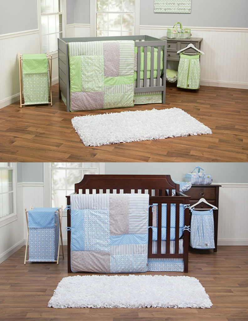 Baby bed that connects to parents bed - Blue And Green Matching Baby Bedding Set For Twins