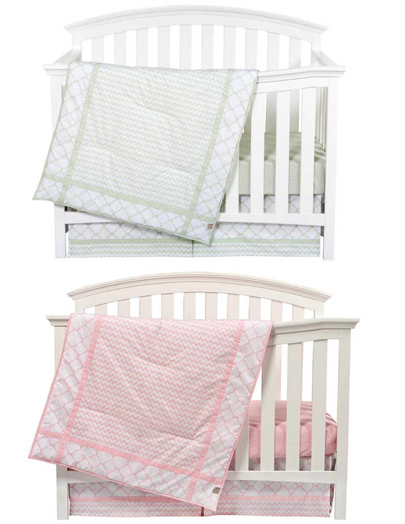matching pink and sea foam boy girl nursery bedding sets for twins. Black Bedroom Furniture Sets. Home Design Ideas