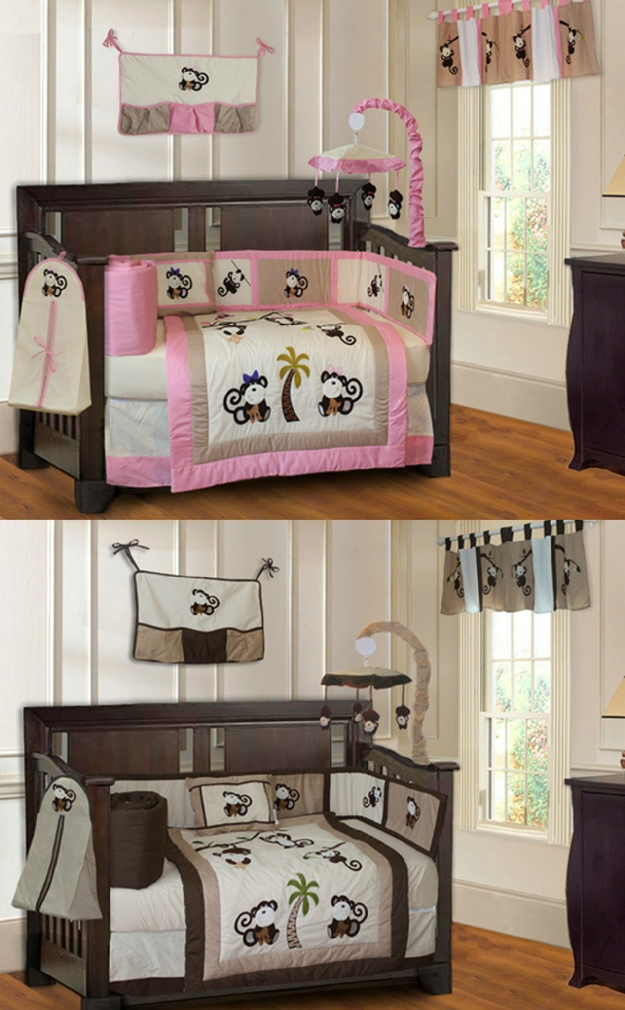 Pink and Brown Monkey 20 Piece Nursery Set - Stuff 4 Multiples
