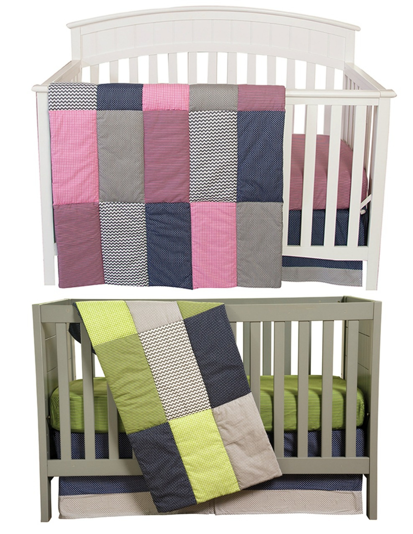 Baby bed twins - Pink And Green Matching Baby Bedding Set For Twins