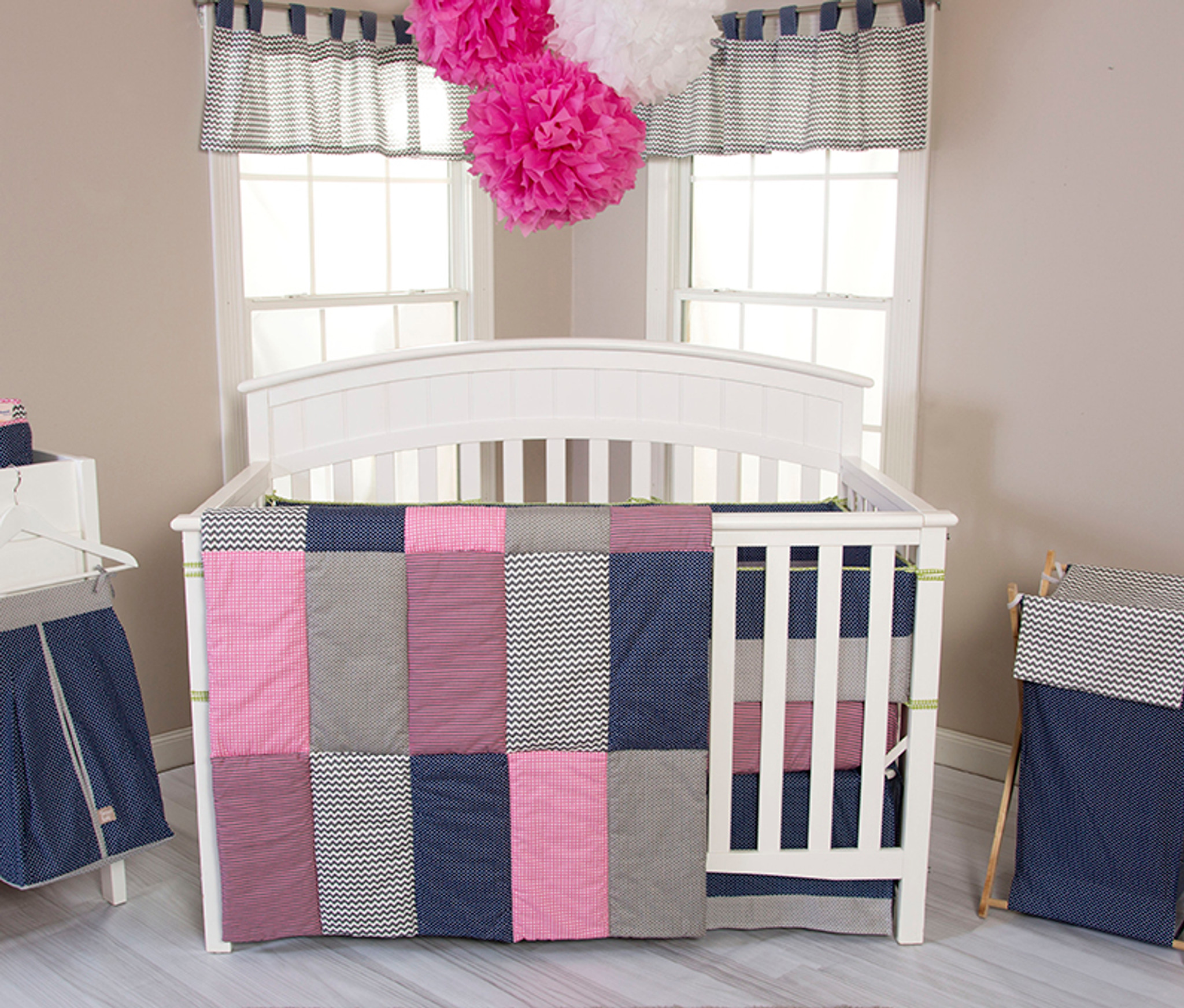Matching Pink And Green Boy Girl Nursery Bedding Sets For