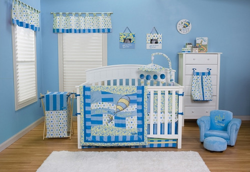 "Dr Seuss ""Oh the Places You'll Go"" 3PC Crib Bedding Set (Blue)"