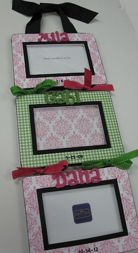 Triplet Picture Frame- Pink with Green Gingham