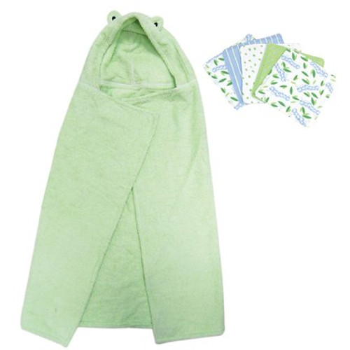 Frog Character Hooded Towel and 5 Piece Wash Cloth Set