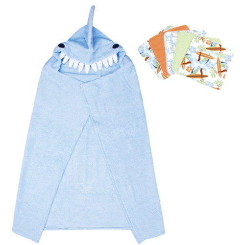Shark Character Hooded Towel and 5 Piece Wash Cloth Set
