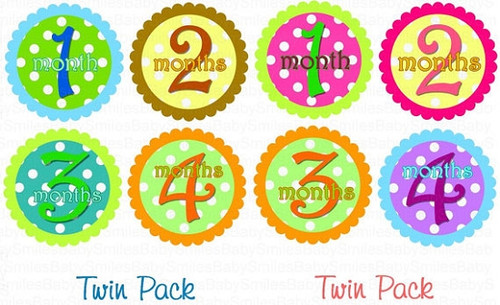 Baby Monthly Photo Stickers: Boy/Girl Twin Polka Dot Set