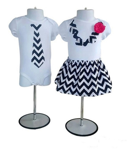 Black Zig Zag Necklace and Tie Set for Twins