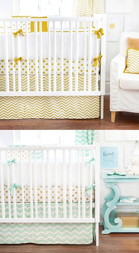 Gold Rush in Gold and Mist Baby Bedding Set 4 Piece Set