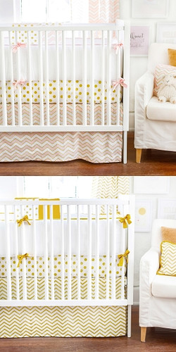 Gold Rush in Pink and Gold Baby Bedding Set 4 Piece Set