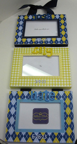 Triplet Picture Frame- Blue and Yellow