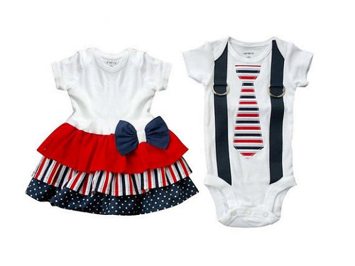 Patriotic Dress and Shirt Set  For Twins
