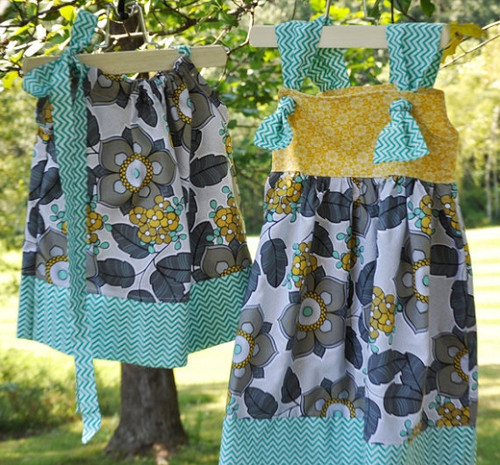 Teal and Yellow Dress Set For Twins